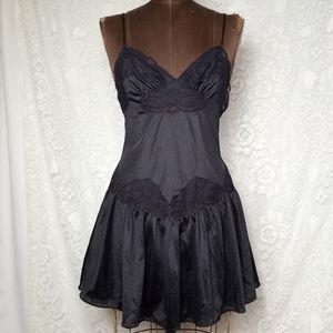 Rare Vintage 70s Antron Nylon Sexy Black Lace Babydoll Lingerie Size Small